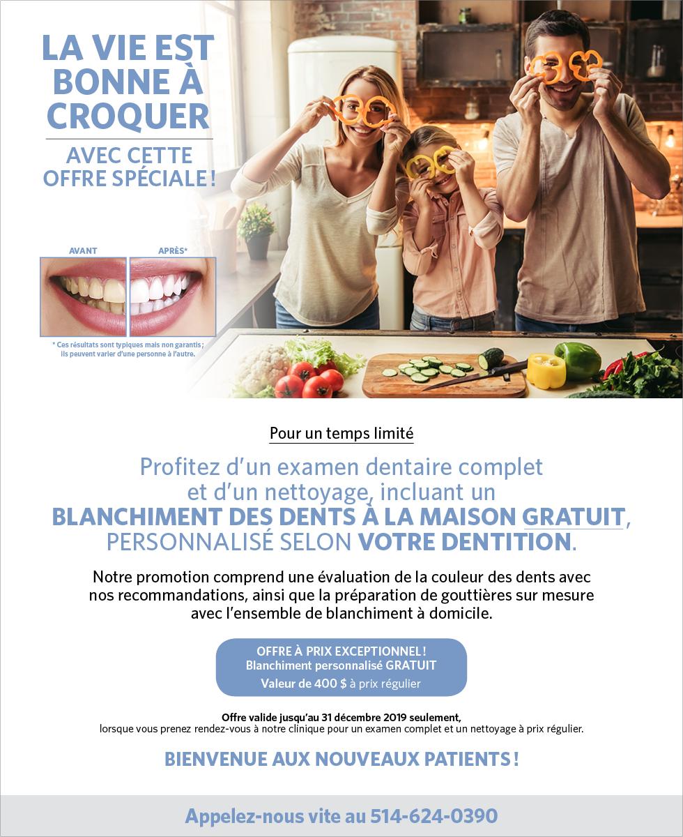 Blanchiment dentaire gratuit pour les nouveaux patients