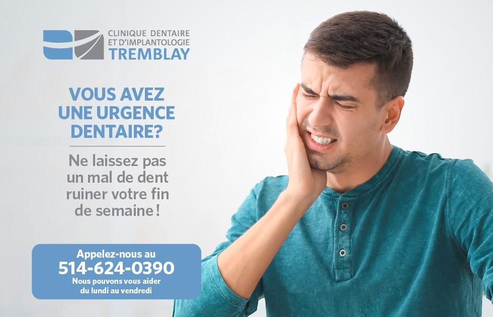 Urgences dentaire dans l'ouest de l'île de Montréal